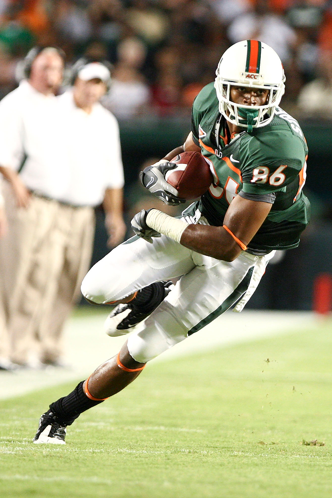 10 October 2009:  Miami (FL) wide receiver Tommy Streeter (86) runs with the ball.   The No 11. Miami Hurricanes defeated Florida A & M Rattlers 48-16 at Landshark Stadium in Miami Gardens, FL.