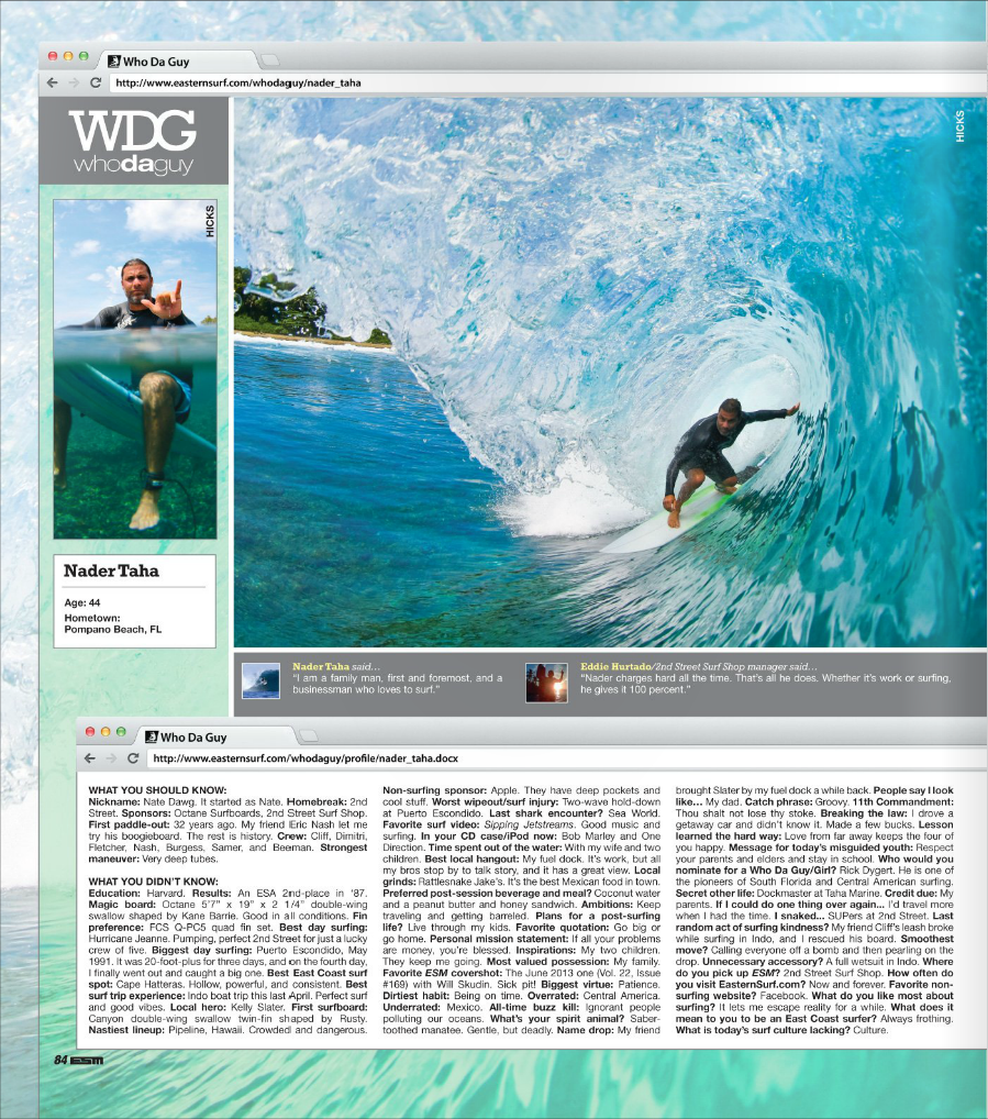 Article on Nadar Taha in Eastern Surfing Magazine Sept 2013
